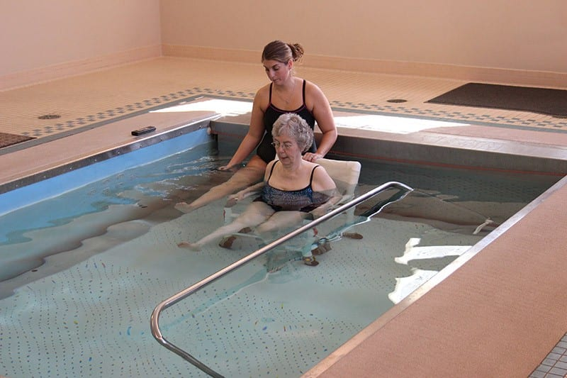 Patient using Aquatic Therapy Pool